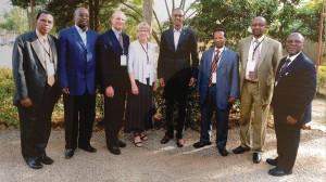 Líderes da Igreja Adventista se reúnem com o presidente de Ruanda. Crédito: departamento de comunicação da ECD
