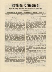 Primeira edição da Revista Adventista, de janeiro de 1906, à época com o nome de Revista Trimensal. Foto: acervo RA