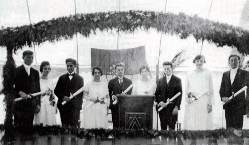 Primeira turma de formandos do curso de Teologia em 1922. Créditos da imagem: Centro White do Unasp