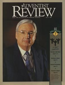 Pastor Folkenberg na capa da Adventist Review quando foi escolhido para ser o líder mundial dos adventistas em 1990
